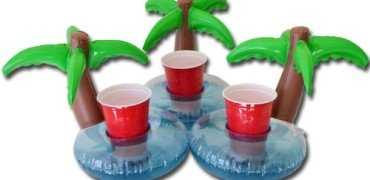 GoPong Floating Palm Island Drink Holder (Pack of 3), Multi Color